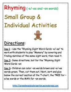Gingerbread rhyming image